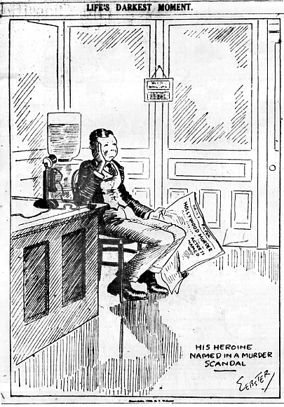Webster cartoon about the murder of William Desmond Taylor produced by HT Webster for the New York Tribune in 1922. Photograph: Wikimedia Commons