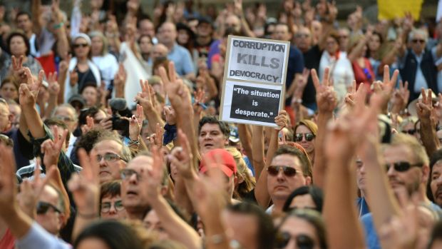 Thousands gather for a national rally to demand justice for murdered Maltese journalist and anti-corruption blogger Daphne Caruana Galizia in the island's capital Valletta on October 22nd, 2017. Photograph: Matthew Mirabelli/AFP/Getty Images
