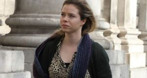 Aoife Bennett from Naas, Co Kildare, at the Four Courts last Friday, where she is taking a High Court action against the Minister for Health, the HSE, GlaxoSmithKline Biologicals SA and the HPRA. Photograph: Collins Courts