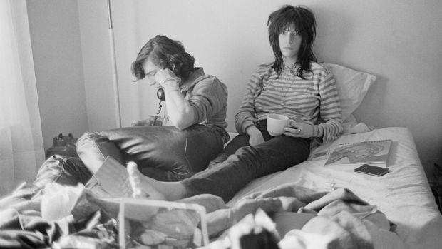 Robert Mapplethorpe and Patti Smith at the Chelsea Hotel in 1970. Her first single, Piss Factory, was spoken-word before spoken-word existed. Photograph: Judy Linn