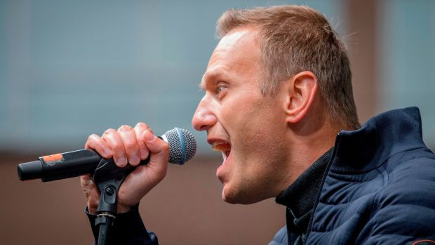 Russian opposition leader Alexei Navalny delivers a speech during a demonstration in Moscow last month. Photograph: Yuri Kadobnov/AFP via Getty Images