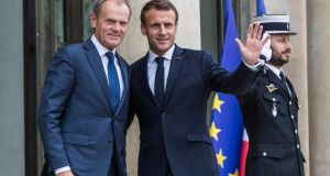 European Council president Donald Tusk and French president Emmanuel Macron at the Élysée Palace in Paris on Monday. Photograph: Christophe Petit Tesson/EPA