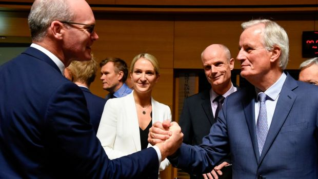 Tánaiste Simon Coveney (L) shakes hands with EU chief Brexit negotiator Michel Barnier during a meeting in Luxembourg. Photograph: John Thys/AFP via Getty Images