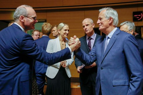 PREDATOR HANDSHAKE: Minister for Foreign Affairs Simon Coveney shakes hands with the European Union's chief Brexit negotiator Michel Barnier at the start of the General Affairs Council on article 50 in Luxembourg. Ministers are preparing for the European Council meeting this week. Photograph: Julien Warnand/EPA