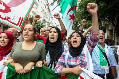 ALGERIA: Demonstrators during the 34th weekly demonstration in the capital Algiers, demanding political reforms. Photograph: AFP/Getty Images