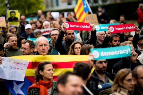 CATALAN INDEPENDENCE: Protesters demonstrate in Brussels after Spain's supreme court sentenced nine separatist leaders from Catalonia to between nine and 13 years in jail for sedition over the failed 2017 independence bid. Photograph: Jasper Jacobs/BELGA/AFP via Getty Images