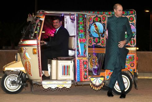 NEW LOOK: Britain's Prince William, Duke of Cambridge, arrives by tuk-tuk (rickshaw) to attend a special reception hosted by the British High Commissioner Thomas Drew, at the Pakistan National Monument, in Islamabad. Photograph:  Chris Jackson - Pool/Getty Images