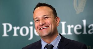 Leo Varadkar rushed across after his session in the House. Why, with all he has on his plate, he felt the need to be present at a bread and butter ministerial event announcing a road-building project in Mayo was a mystery. Photograph: Niall Carson/PA Wire