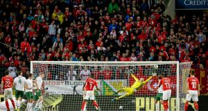 Ireland's Darren Randolph makes a save against Switzerland. Photograph: Tommy Dickson/Inpho