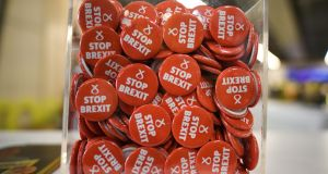 Stop Brexit badges at the SNP party conference in Aberdeen, Scotland. Photograph: Jeff J Mitchell/Getty Images