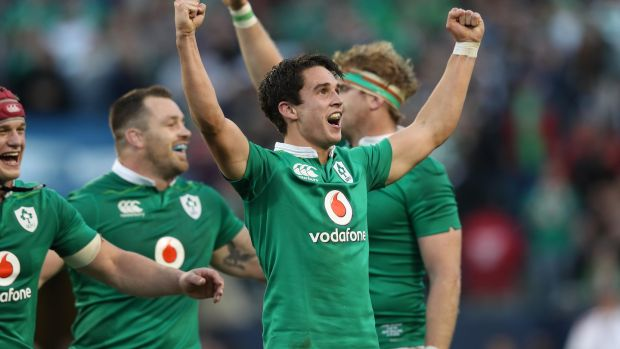Ireland's Joey Carbery celebrates the victory over New Zealand at Soldier Field in Chicago in November 2016. Photograph: Billy Stickland/Inpho