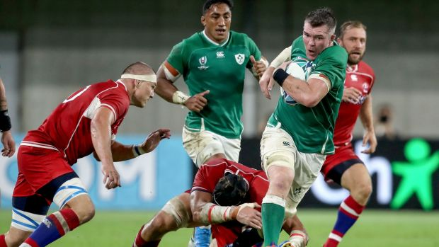 Peter O'Mahony in action against Japan during the Rugby World Cup Pool A game in Kobe. Photograph: Dan Sheridan/Inpho