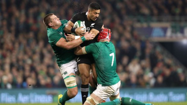 Ireland's CJ Stander and Josh van der Flier tackle New Zealand's Richie Mo'unga during the autumn international at the Aviva stadium in November 2018. Photograph: Billy Stickland/Inpho