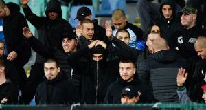 Bulgarian fans chanted racist abuse and  and gave the Nazi salute during the European Championship defeat to England  at the Vasil Levski National Stadium in Sofia. Photograph: Nikolay Doychinov/AFP/Getty   Images