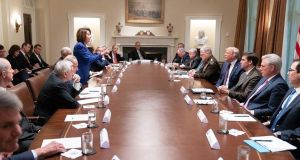 House speaker Nancy Pelosi addresses the president during a stormy White House meeting. Photograph: Twitter