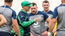 Ireland's head coach Joe Schmidt speaks during a training session ahead of the Rugby World Cup quarter-final against New Zealand. Photo: Billy Stickland/Inpho