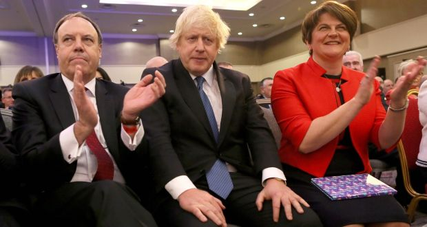 DUP deputy leader Nigel Dodds, Boris Johnson and DUP leader Arlene Foster at the DUP annual conference in Belfast in 2018. Photograph: Paul Faith/AFP via Getty Images