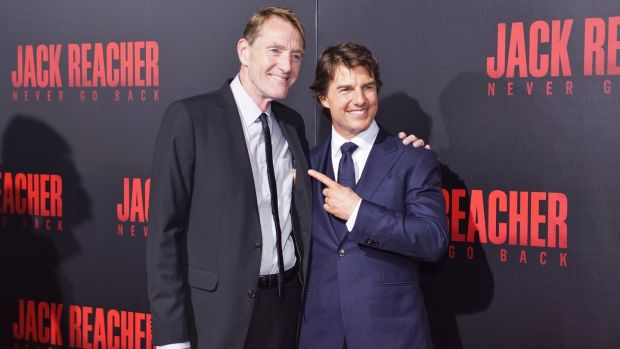 Lee Child and Tom Cruise. Photograph: Ryan Theriot/WireImage