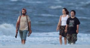 Shia LaBeouf, Dakota Johnson and Zack Gottsagen in The Peanut Butter Falcon