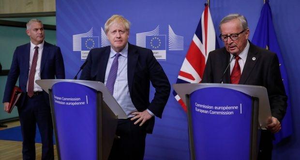 President of the European Commission Jean-Claude Juncker and  British prime minister Boris Johnson  during a press conference on the Brexit deal in Brussels, Belgium. Photograph: EPA