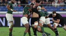 New Zealand blindside wing forward Ardie Savea was phenomenal as South Africa ran riot over the All Blacks in those opening 20 minutes of their group clash. Photograph: Mike Hewitt/Getty Images