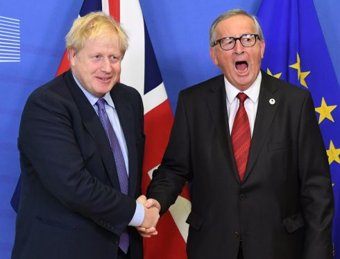 FEELING THE SQUEEZE: UK prime minister Boris Johnson and European Commission president Jean-Claude Juncker, ahead of the opening sessions of the European Council summit at EU headquarters in Brussels. Photograph: Stefan Rousseau/PA Wire