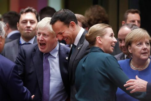 'AND THEN I SAID...' Taoiseach Leo Varadkar and British prime minister Boris Johnson during a European Council summit in Brussels, Belgium, where the UK and the EU agreed a new Brexit deal. Photograph: Olivier Hoslet/EPA