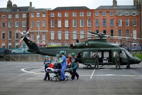 GET TO THE CHOPPER: A new helipad at the Mater hospital, Dublin has been used in an exercise where an army Air Corps helicopter landed to bring a person to the emergency department which is situated 10m from the landing area. Photograph: Nick Bradshaw