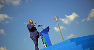 Democratic Alliance leader Mmusi Maimane speaks  in Johannesburg, South Africa. File photograph: Kevin Sutherland/EPA