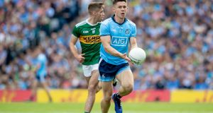 Davy Byrne in action for Dublin in the All-Ireland final against Kerry. He played all but one of the county's  championship games this season.  Photograph: Morgan Treacy/Inpho