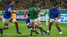 Johnny Sexton has again showed how vital he is to Ireland's cause on the pitch during thei Rugby World Cup. Photograph: Hiroshi Yamamura/EPA