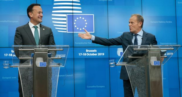 Taoiseach Leo Varadkar and president of the European Council Donald Tusk during a press conference at the Brexit summit in Brussels. Photograph: Olivier Hoslet/EPA
