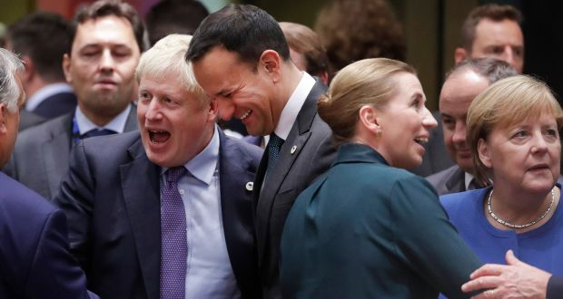 British prime minister Boris Johnson, Taoiseach Leo Varadkar, Danish prime minister Mette Frederiksen and German chancellor Angela Merkel at the  European Council summit in Brussels on Thursday. Photograph: Olivier Hoslet/EPA
