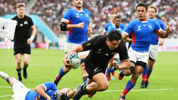 Rugby New Zealand's Anton Lienert-Brown scores a try during the Rugby World Cup Pool B game against Namibia at Tokyo Stadium. Photograph: Andrew Cornaga/Inpho
