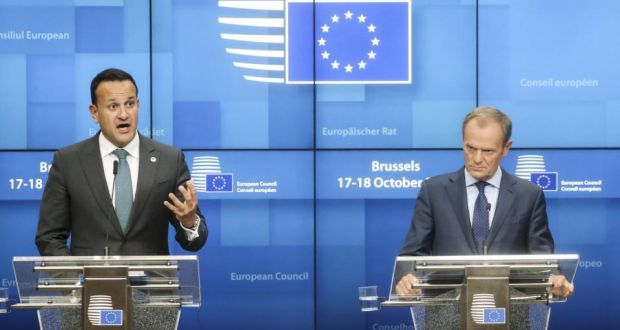 Taoiseach Leo Varadkar speaks while Donald Tusk, president of the EU listens during a news conference in Brussels, Thursday. Photograph: Simon Dawson/Bloomberg