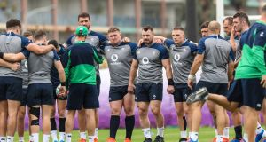 Joe Schmidt speaks to his Ireland squad ahead of Saturday's clash with the All Blacks. Photograph: Billy Stickland/Inpho