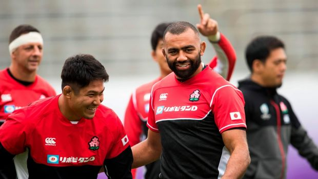 Japan captain Michael Leitch trains ahead of his side's clash with the Springboks. Photograph: Odd Andersen/AFP/Getty