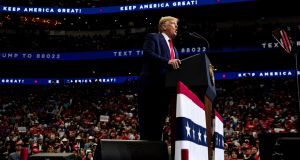 President Donald Trump speaks during a campaign rally the American Airlines Center in Dallas, on Thursday, October 17th, 2019. Photograph: Anna Moneymaker/The New York Times