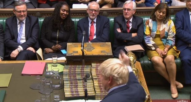 British  prime minister Boris Johnson gesturing towards Labour party leader Jeremy Corbyn in the House of Commons.