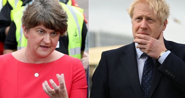 DUP leader Arlene Foster (L): Boris Johnson (R) 'was under pressure and conceded too much'. Photograph: DANIEL LEAL-OLIVAS, PAUL FAITH/POOL/AFP via Getty Images
