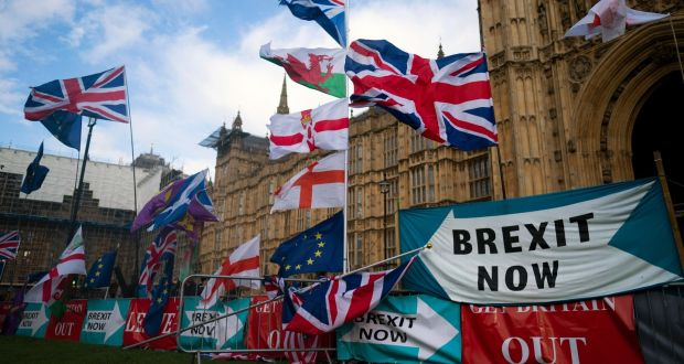 Flags and signs left by protesters outside the Houses of Parliament, Central London. File photograph: Will Olivier/EPA