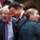 Boris Johnson and Leo Varadkar in Brussels on Thursday. This week's Brexit deal left all but a fraction of the agreement negotiated with Theresa May intact. Photograph: EPA