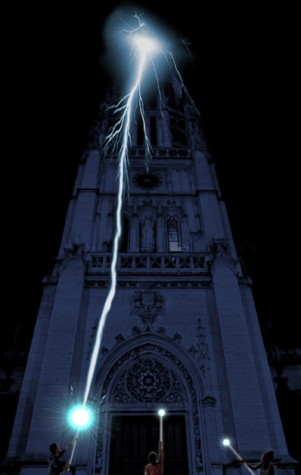 Seb Lee-Delisle's Lightning Strike on St Mary's Abbey