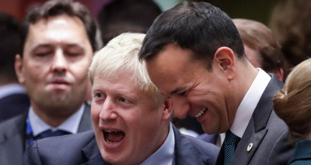 Taoiseach Leo Varadkar (right) with British prime minister Boris Johnson during a Brexit summit in Brussels. Photograph: Olivier Hoslet/EPA