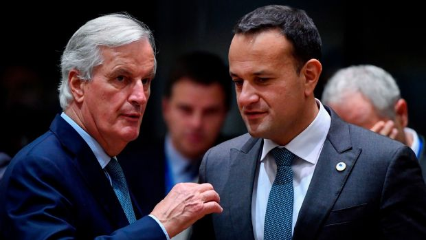 EU chief Brexit negotiator Michel Barnier (L) speaks with Taoiseach Leo Varadkar during a summit at EU headquarters in Brussels. Photograph: John Thys/AFP via Getty Images