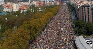 Thousands of people take part in the Marches for Freedom in Barcelona on Friday amid a wave of protests against this week's court ruling. Photograph: EPA/Alejandro Garcia