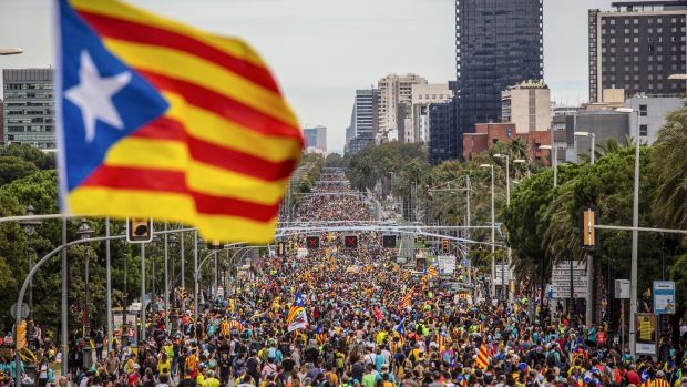A large number of protesters march along la Diagonal during a demonstration in Barcelona. Photograph: Angel Garcia/Bloomberg