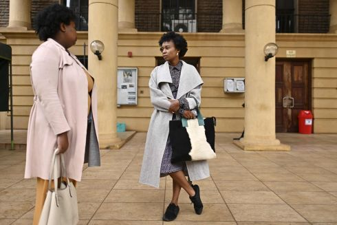 "CONTROVERSY: Wanuri Kahiu(right) (39) director of the Kenyan film ""Rafiki"", a love story between two young women that has evoked homophobic backlash in the East African nation, chats with an associate at the high court following a screening in a hearing of a legal suit by Wanuri against the Kenya Films Classification Board (KFCB) for banning the film due to what it termed as the promotion of lesbianism, in Nairobi, on October 18th. After her film was selected for the Cannes Film Festival Wanuri Kahius joy was short-lived after it was almost simultaneously banned by the Kenya Film Classification Board. According to media reports the lawsuit had been filed against KFCB demanding a change to the law that has been used in recent years to ban several films from being showcased in the country. Photograph: Tony Karumba/AFP via Getty"