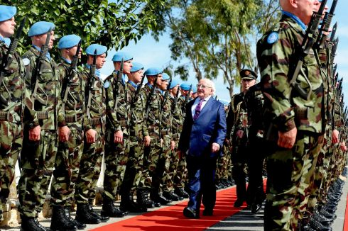STAND TO ATTENTION: President Michael D Higgins and his wife Sabina visit Beirut, Lebanon for three days. Mr Higgins travelled to southern Lebanon, where he met the Irish troops serving in the United Nations Interim Force in Lebanon. UNIFIL is a multinational peacekeeping force that has been deployed in southern Lebanon since 1978. Its primary objective is to maintain security in the region and monitor a cessation-of-hostilities agreement. Photograph: Maxwell's