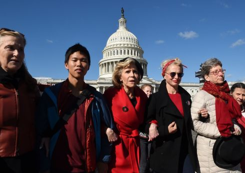 MARCH: Actress and activist Jane Fonda (centre) marches outside the US Capitol as part of a climate change protest, on October 18th. Photograph: Olivier Douliery/AFP via Getty